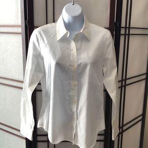Ann Taylor white button down work shirt blouse